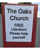 Church back sign for the Gospel cart